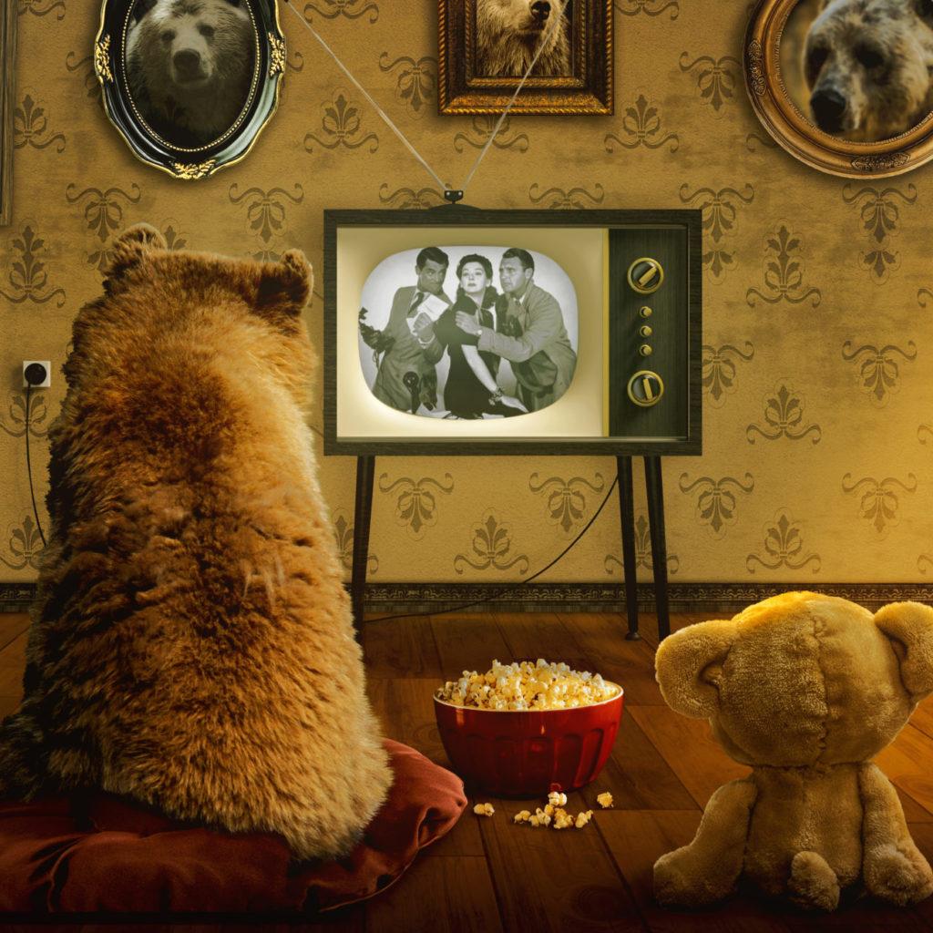 teddy bears watching movies